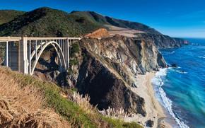Картинка море, мост, обрыв