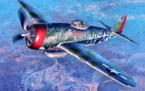 Картинка USAF, P-47, P-47D Thunderbolt, P-47D-25, 56th Fighter Group, Gabby Gabreski