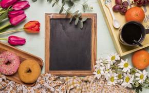 Картинка цветы, букет, завтрак, тюльпаны, красные, red, пончики, фрукты, wood, flowers, fruit, tulips, coffee cup, spring, …