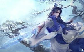 Картинка зима, меч, парень, азиат, 大葱君