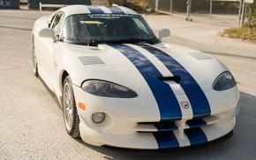 Картинка Белый, Dodge Viper, Спорткар, GTSR, Синие полосы