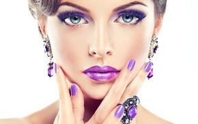 Картинка девушка, макияж, маникюр, purple, makeup