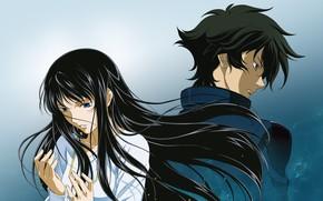 Картинка девушка, аниме, арт, парень, Mobile Suit Gundam