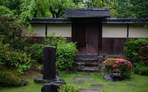 Картинка Цветы, Природа, Япония, Стена, Сад, Камни