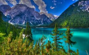 Картинка лес, облака, деревья, пейзаж, горы, природа, озеро, Италия, Lago di Braies, Брайес