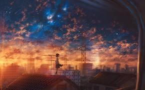 Картинка крыша, закат, школьница, звездопад