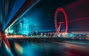 Картинка свет, город, огни, скорость, выдержка