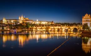 Картинка мост, отражение, река, Прага, Чехия, ночной город, Prague, Карлов мост, Czech Republic, Charles Bridge, Vltava ...