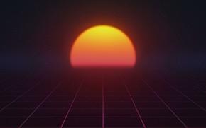 Картинка Солнце, Музыка, Звезда, Фон, 80s, Neon, 80's, Synth, Retrowave, Synthwave, New Retro Wave, Futuresynth, Синтвейв, …