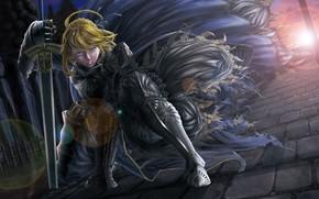 Картинка взгляд, девушка, солнце, закат, поза, меч, доспехи, сейбер, Судьба ночь схватки, Fate / Stay Night