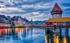 Картинка мост, дома, вечер, Швейцария, water, evening, houses, Крытый мост в Люцерне