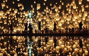 Картинка отражение, люди, people, reflection, chinese lanterns, Prasad Ambati, китайские фонарики