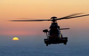 Картинка закат, вертолёт, helicopter, Airbus, SAR, H225