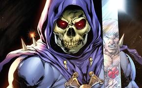 Картинка взгляд, оружие, мультфильм, скелет, Skeletor, He-Man