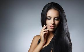 Картинка brunette, eyelashes, make up