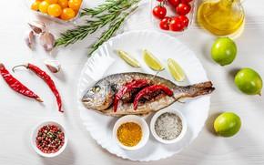 Картинка рыба, лайм, перец, специи, чеснок, помидорки