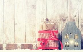 Картинка зима, снег, красный, подарок, домик, декор, Valeria Aksakova