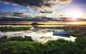 Картинка берег, лодка, утро