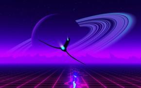 Картинка Музыка, Планета, Корабль, Фон, Кольцо, Emotions, Synth, Retrowave, Synthwave, New Retro Wave, Futuresynth, Синтвейв, Ретровейв, …
