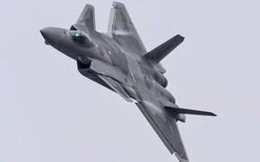 Картинка Истребитель, Пилот, J-20, Chengdu J-20, Эффект Прандтля — Глоерта, Кокпит, ВВС КНР, ИЛС