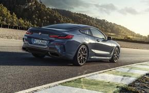 Картинка купе, BMW, Coupe, 2018, поребрик, серо-синий, 8-Series, бледно-синий, M850i xDrive, 8er, G15