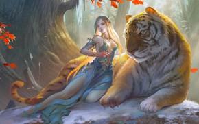 Картинка girl, fantasy, forest, cleavage, dress, trees, breast, tiger, animal, blonde, artwork, fantasy art, Elf, chest, …