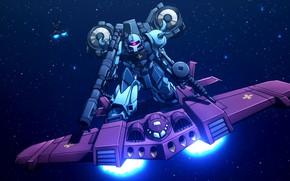 Картинка оружие, пушки, роботы, самолёт, Mobile Suit Gundam