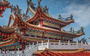Картинка храм, архитектура, Малайзия, Kuala Lumpur, Malaysia, Thean Hou Temple, Куала-Лумпур, Храм Тянь Хоу
