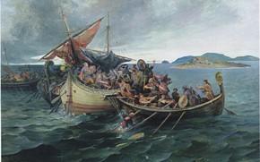 Картинка sea, man, viking, shield, warrior, helmet, spear, honor, vikings, wather, islad, Jomsvikings, Battle of Svolder