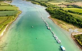 Обои река, остров, Англия, Медина, Уайт