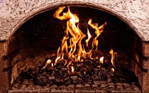 Картинка стена, огонь, пламя, жар, угли, камин, очаг, горение, языки пламени