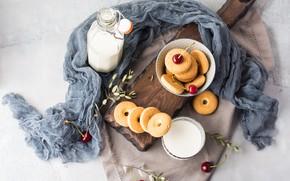 Картинка бутылка, завтрак, молоко, печенье