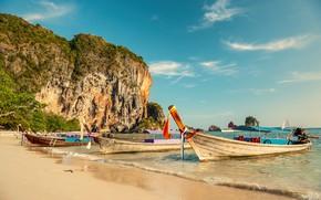 Картинка песок, море, волны, пляж, лето, небо, берег, лодки, summer, beach, sea, seascape, beautiful, sand, paradise, …