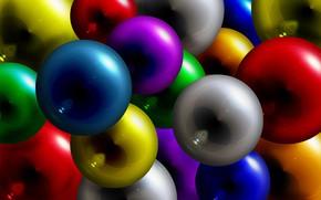 Обои краски, шар, шарик, объем