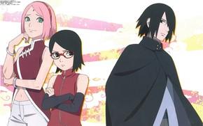 Картинка Uchiha Sasuke, Haruno Sakura, NARUTO, Uchiha Sarada, Boruto, Official Art, Studio Pierrot