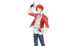 Картинка меч, рыжий, белый фон, парень, by shiroiyan