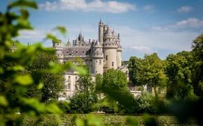 Картинка солнце, деревья, природа, замок, France, Feudal Castle Pierrefonds