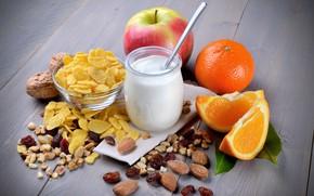 Картинка яблоко, апельсин, завтрак, молоко, орехи, миндаль, хлопья