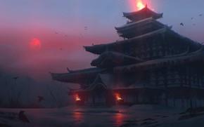 Картинка холод, зима, огонь, Япония, храм, сумерки, красная луна, воронье, мрачная атмосфера, by Quentin Bouilloud