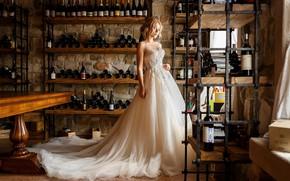 Картинка девушка, поза, вино, платье, свадьба, Косарева Анастасия