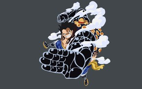 Картинка рука, парень, серый фон, One Piece