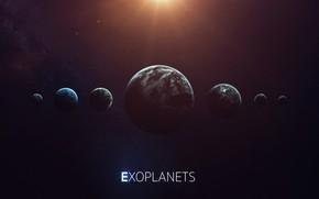 Картинка Солнце, Планета, Космос, Звезда, Свет, Планеты, Light, Planets, Star, Арт, Space, Блик, Art, Planet, Universe, …