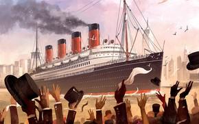 Картинка Рисунок, Люди, Арт, Art, Titanic, Illustration, RMS Titanic, Game Art, Dominik Mayer, Transatlantic, by Dominik ...