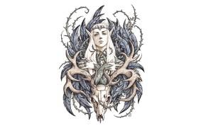 Картинка череп, олень, Хоббит, Трандуил, король эльфов, by candra