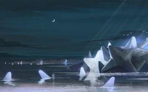 Картинка небо, вода, звезды, ночь, фэнтези, полумесяц