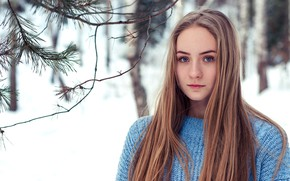 Картинка girl, Model, long hair, trees, photo, blue eyes, winter, snow, lips, face, blonde, branches, portrait, …