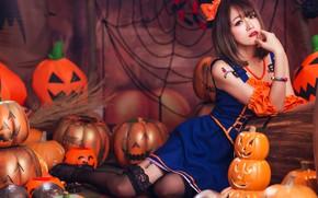 Картинка осень, девушка, лицо, поза, стиль, фон, праздник, ноги, сеть, пауки, паутина, костюм, наряд, тыквы, образ, …
