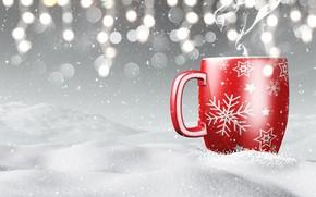 Картинка зима, снег, снежинки, кружка, winter, snow, cup, coffee, snowflakes