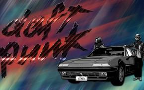 Картинка Музыка, Машина, Фон, Ferrari, Daft Punk, Thomas Bangalter, Дафт Панк, Human, Guy Manuel de Homem …