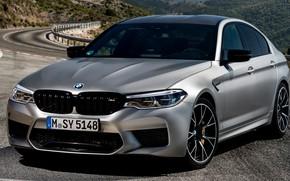 Картинка дорога, асфальт, серый, BMW, стоянка, седан, 4x4, 2018, четырёхдверный, M5, V8, F90, M5 Competition